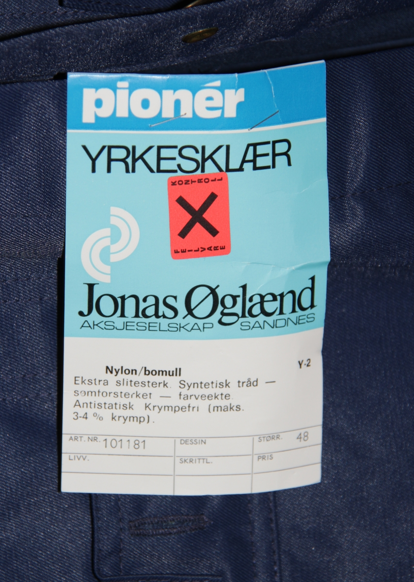 7af45bc8 Arbeidsdress av merket Pionér fra firma Jonas Øglænd AS.