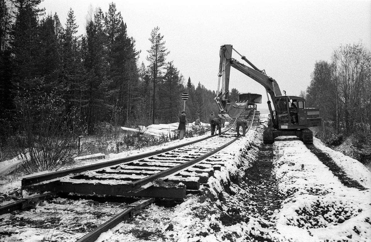 Järnvägsbygge. Banarbete.