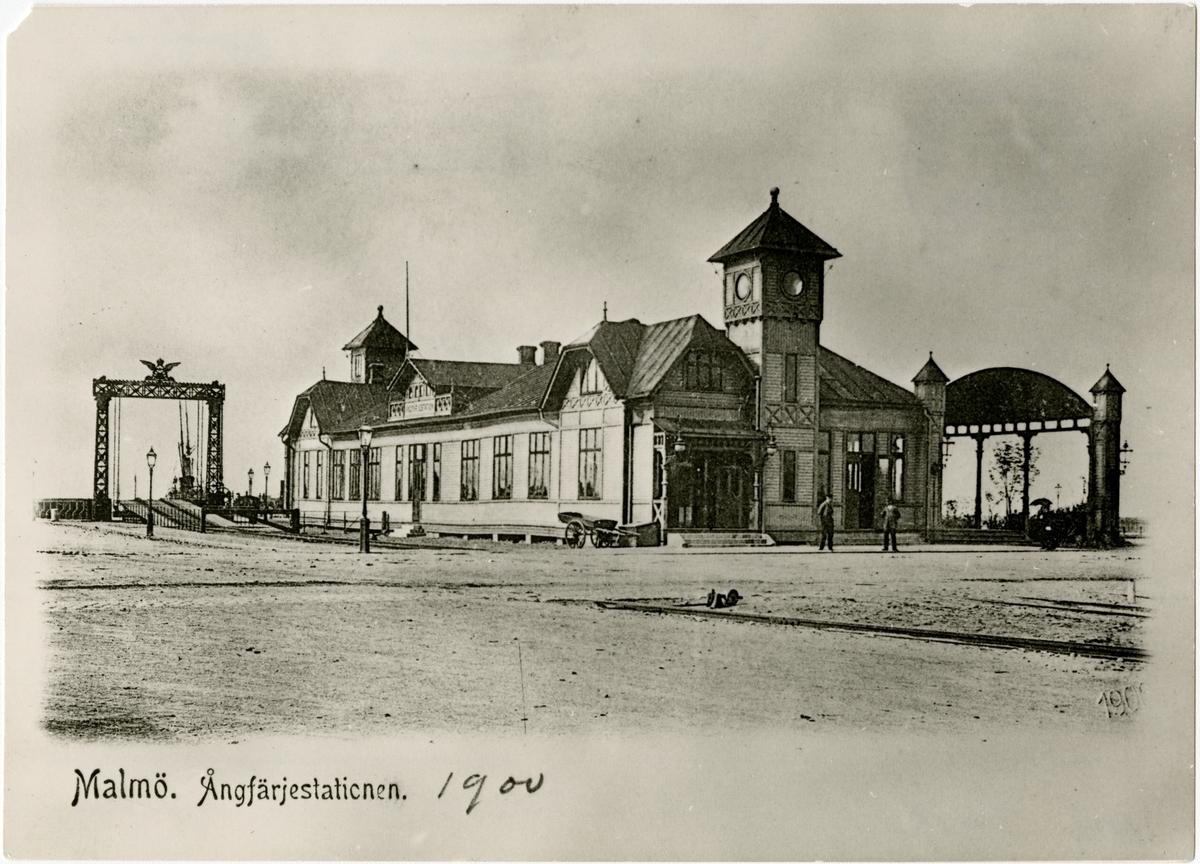 Ångfärjestationen i Malmö. Kopia av vykort.