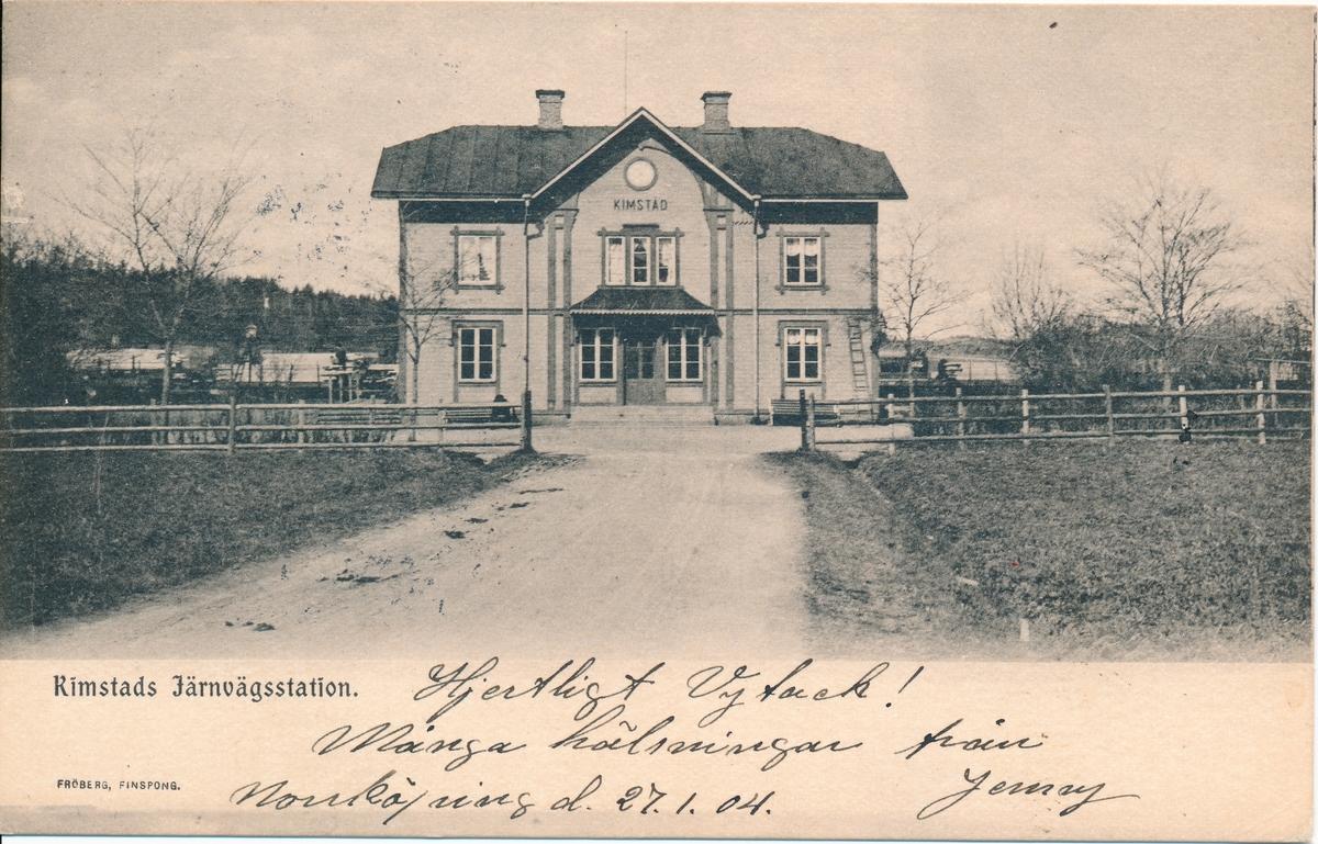 Kimstad järnvägsstation från gatusidan.