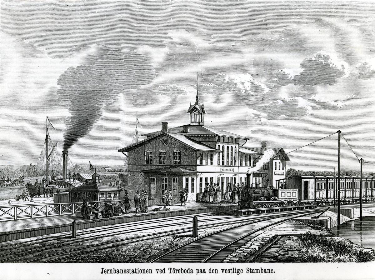 Träsnitt av Töreboda station.