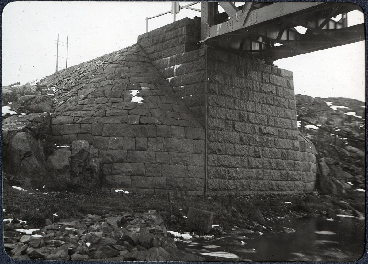 Album med fotografier från Bohusbanan. Bro över Nordre älv,norra landfästet.