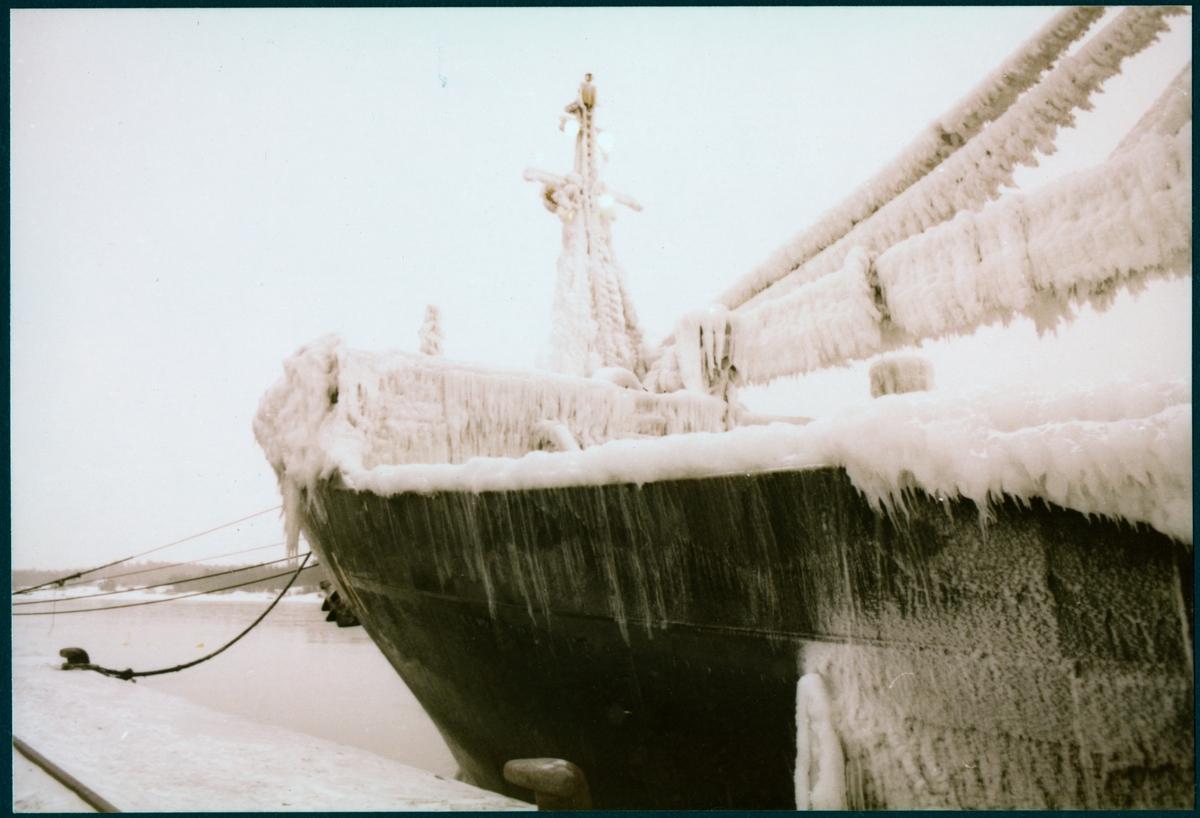 "Nedisade fraktfartyget ""E. R. Scaldia"" ligger vid kaj."