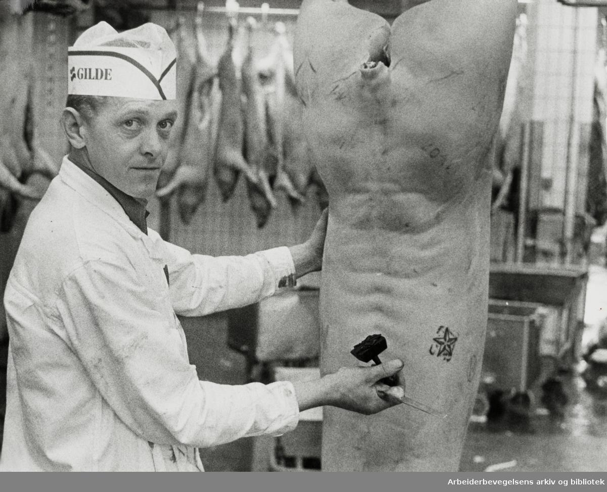 Fellesslakteriet. Slakter Ottar Eng. November 1979
