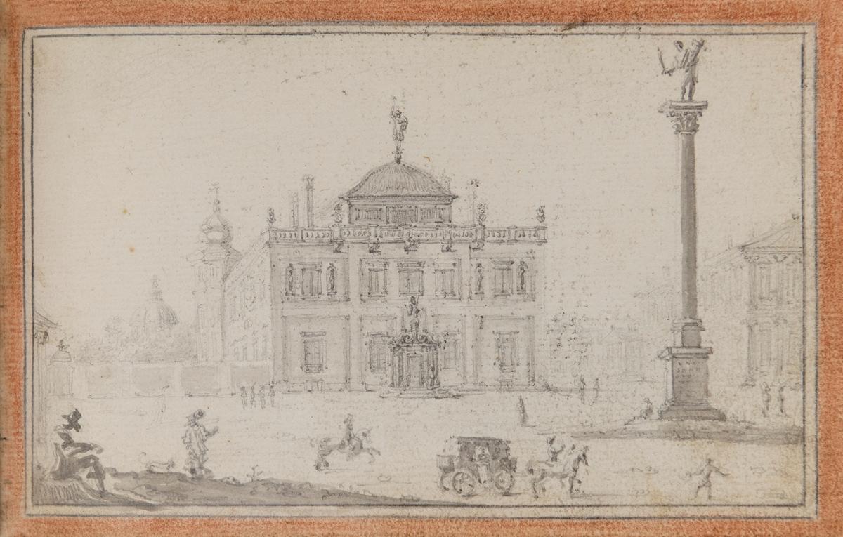 Skissbok med motiv från Mathias Palbitzkis resor i Europa, troligen från 1640-talet.