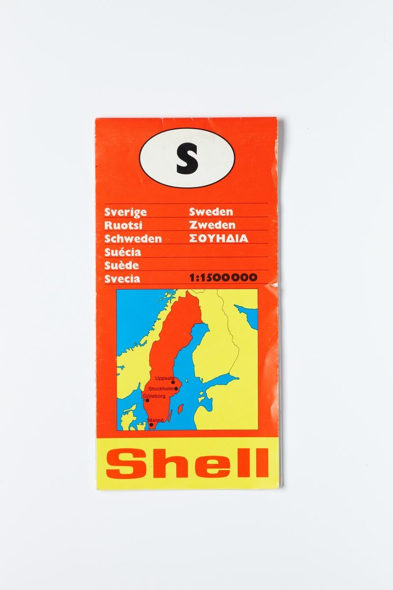 På forsiden er et kart over Nordeuropa der landene er markert i gult og Sverige i rødt.