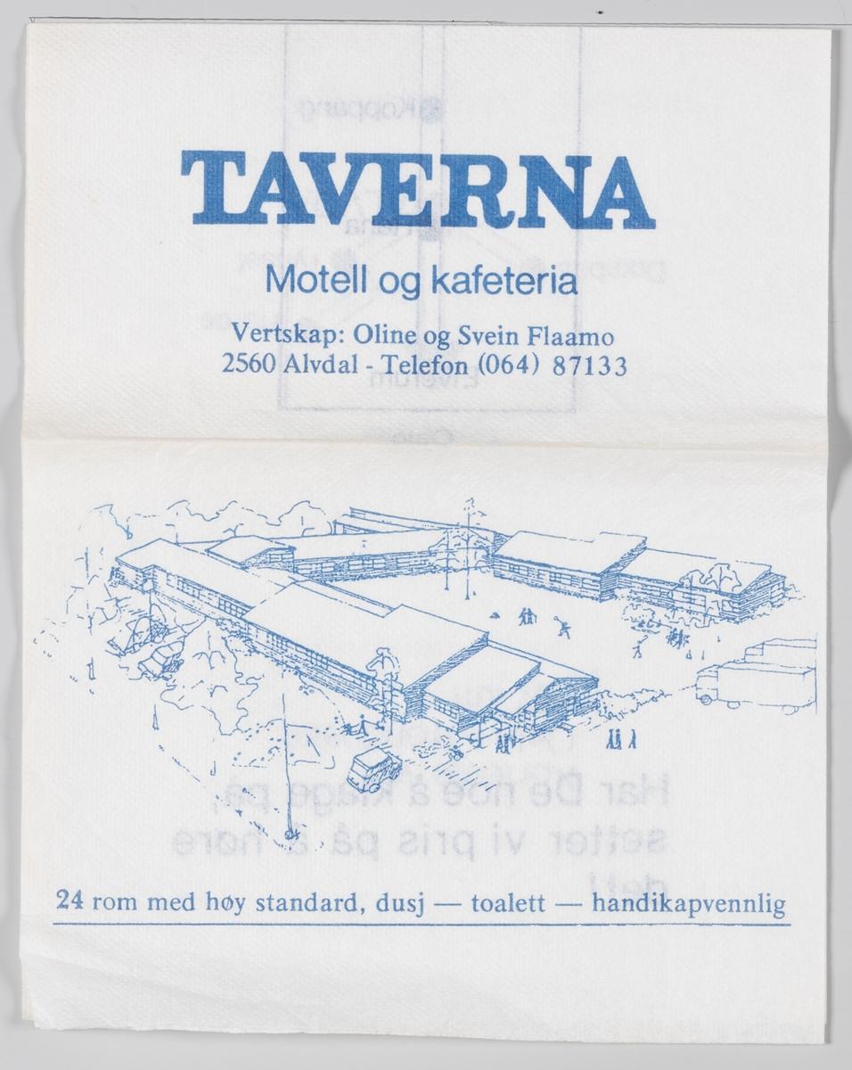 En tegning av bygningen, et veikart og en reklame for Taverna Motell og Kafeteria i Alvdal.
