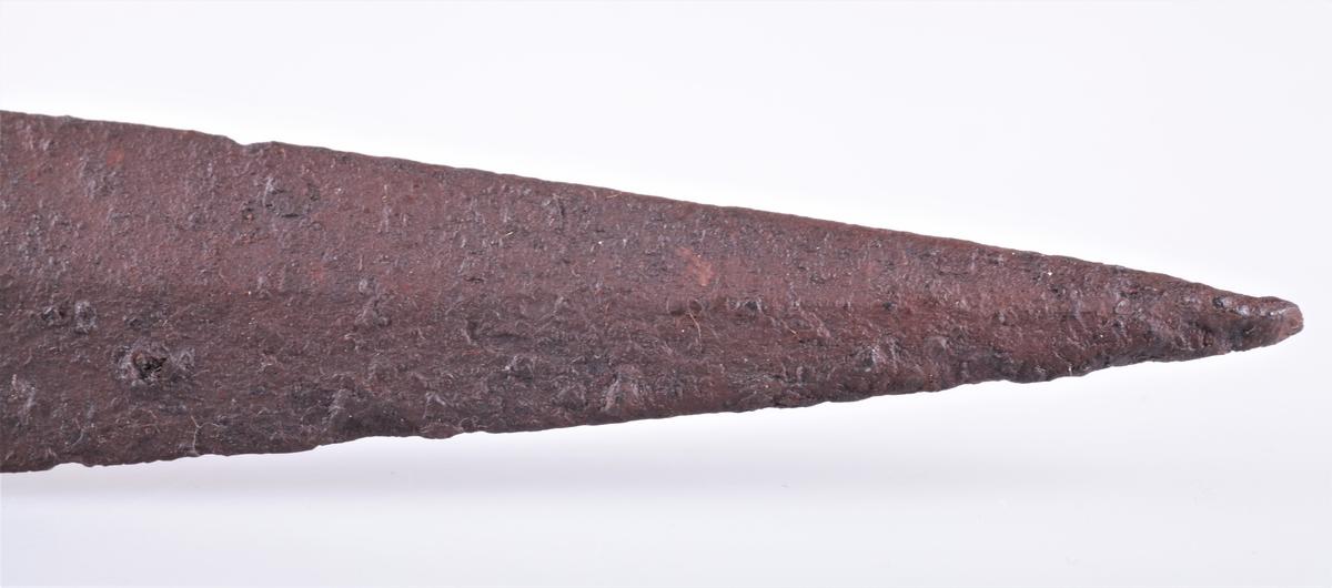 Spydspiss av jern av typen Rygh 517, men uten de innsmidde furer på falen. Gravfunn fra vikingetiden fra Dyste, Kolbu.