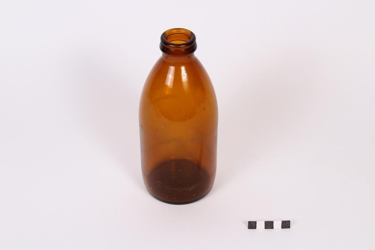 Mjølkeflaske, glas, brun. 1 liter.