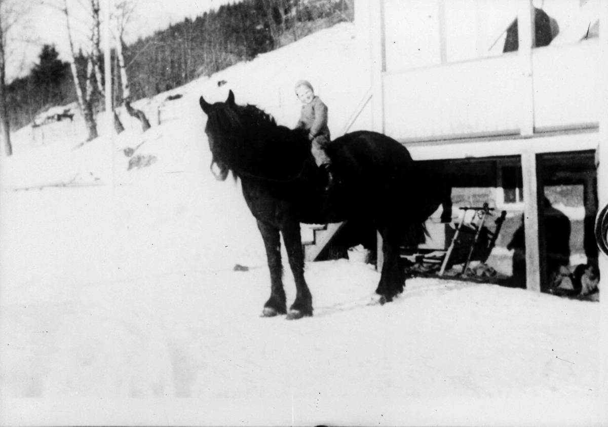 Barn på en hest utenfor et hus. Vinter
