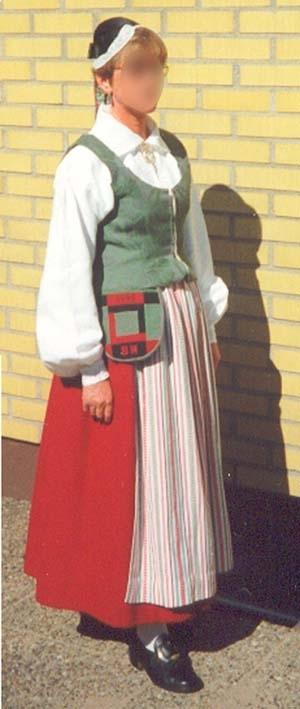 Folkdräkt från Ränneslöv i Halland