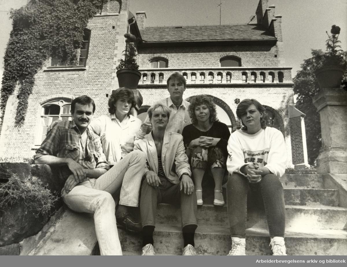 Gaustad Sykehus, Veksthuset. Fra v.: Kay Morten Skjeggestad, Anne Katrine Skulstad, Marit Engh, Ole Østmoe, Inger Vennerød og Anne Ringdal. August 1986