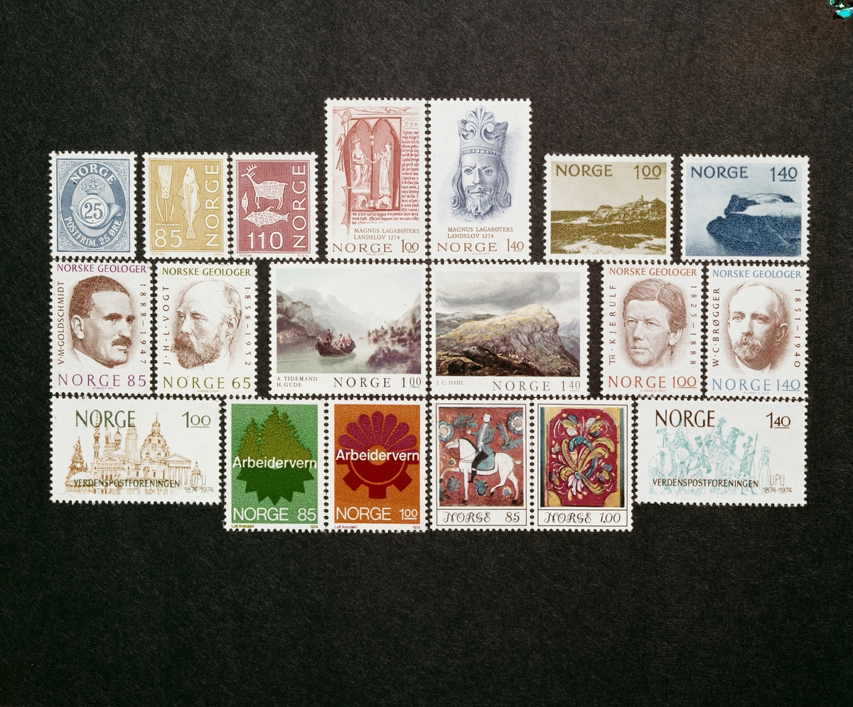 Norske frimerker fra ca. 1974.