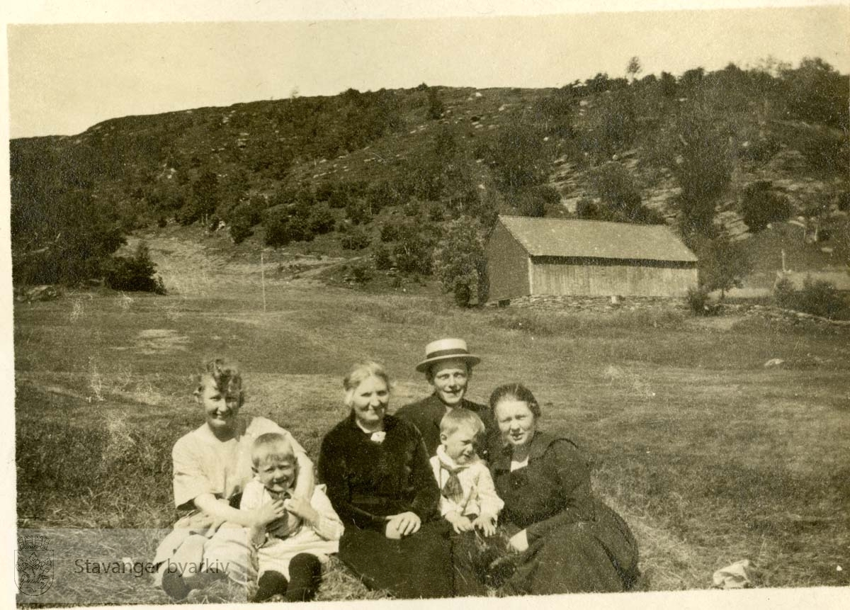 Familiegruppe i landskap