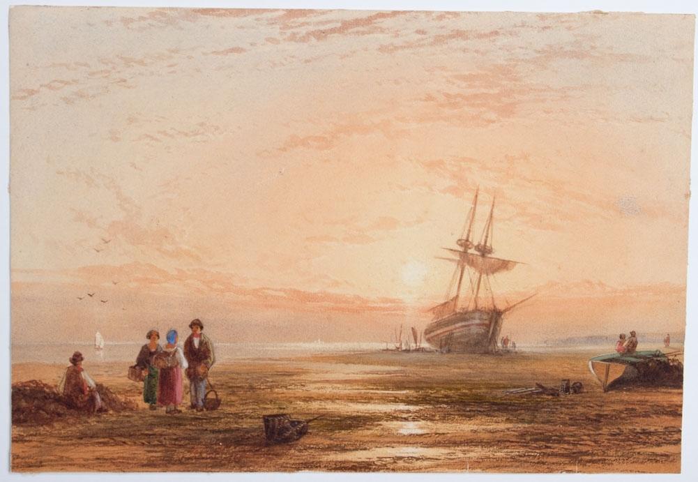 Akvarell som viser en strand med båter og to vindmøller sees på land. En mann og kvinne går på en molo, mannen bærer på fiskeredskap. Ser også fiskefartøy med seil på sjøen.