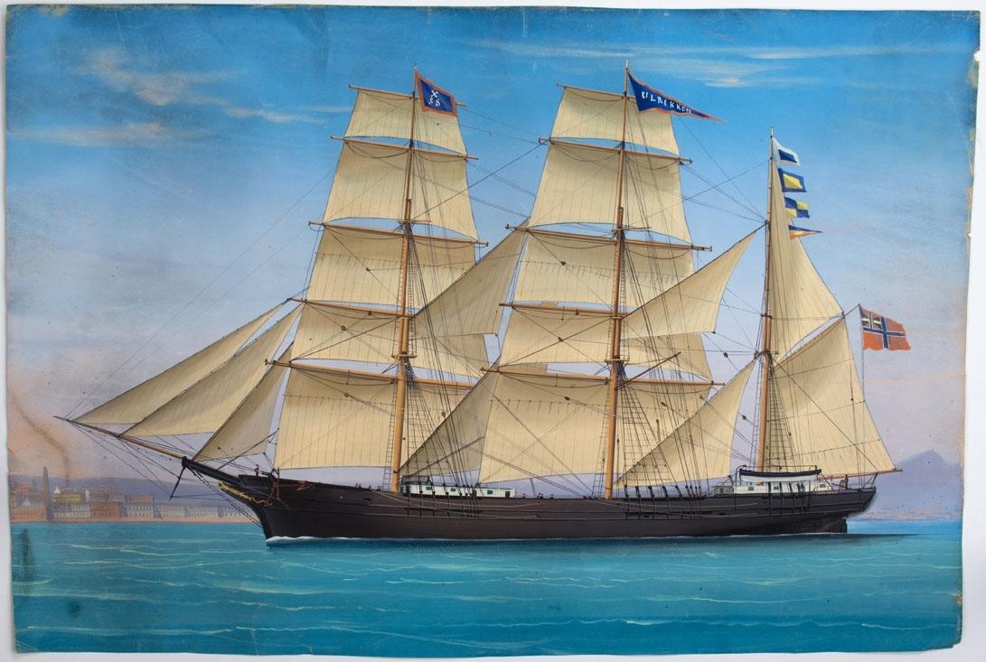 Skipsportrett av bark PROFESSOR SCHWEIGAARD under fulle seil utenfor Livorno i Italia. Fører unionsflagg i mesanmasten samt vimpel med skipets navn i stormasten og vimpel med kjenningsmerke X201 i fortoppen.