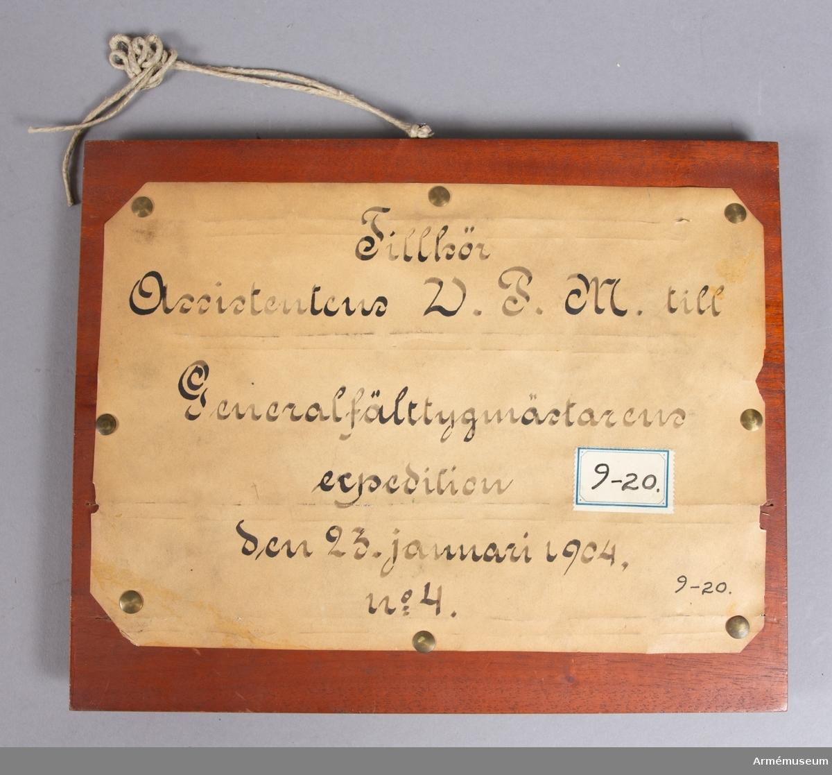 Grupp E V. Mont. på skiva märkt Ass. W.P.M. t Generalfälttygm. exp 1904. Nr 4.
