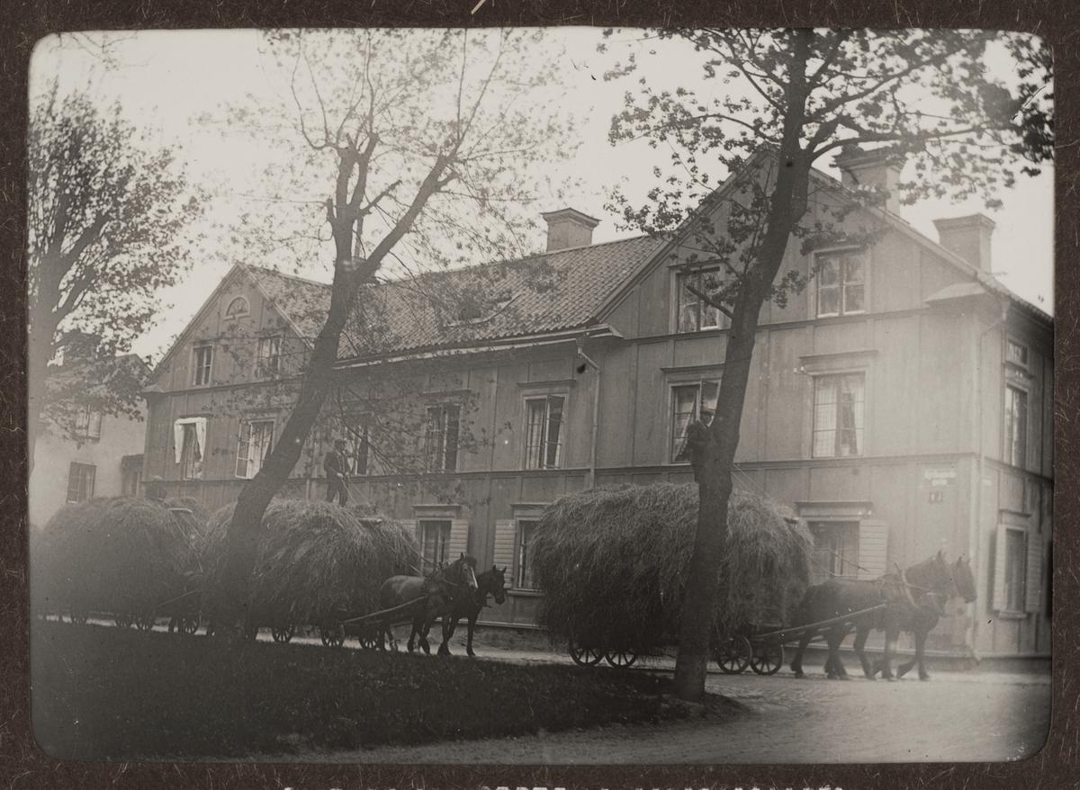 """""""Upsala. Hörnet vid Järnbro- och Kyrkogårdsgatan"""", hästtransport med stora hölass, kvarteret Pistolen, Uppsala 1912"""