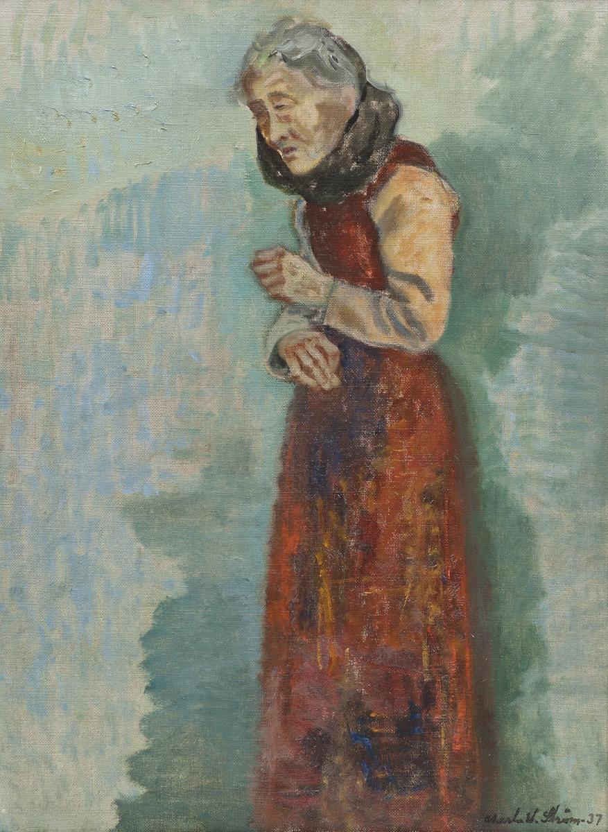Portrett av eldre kvinne i helfigur