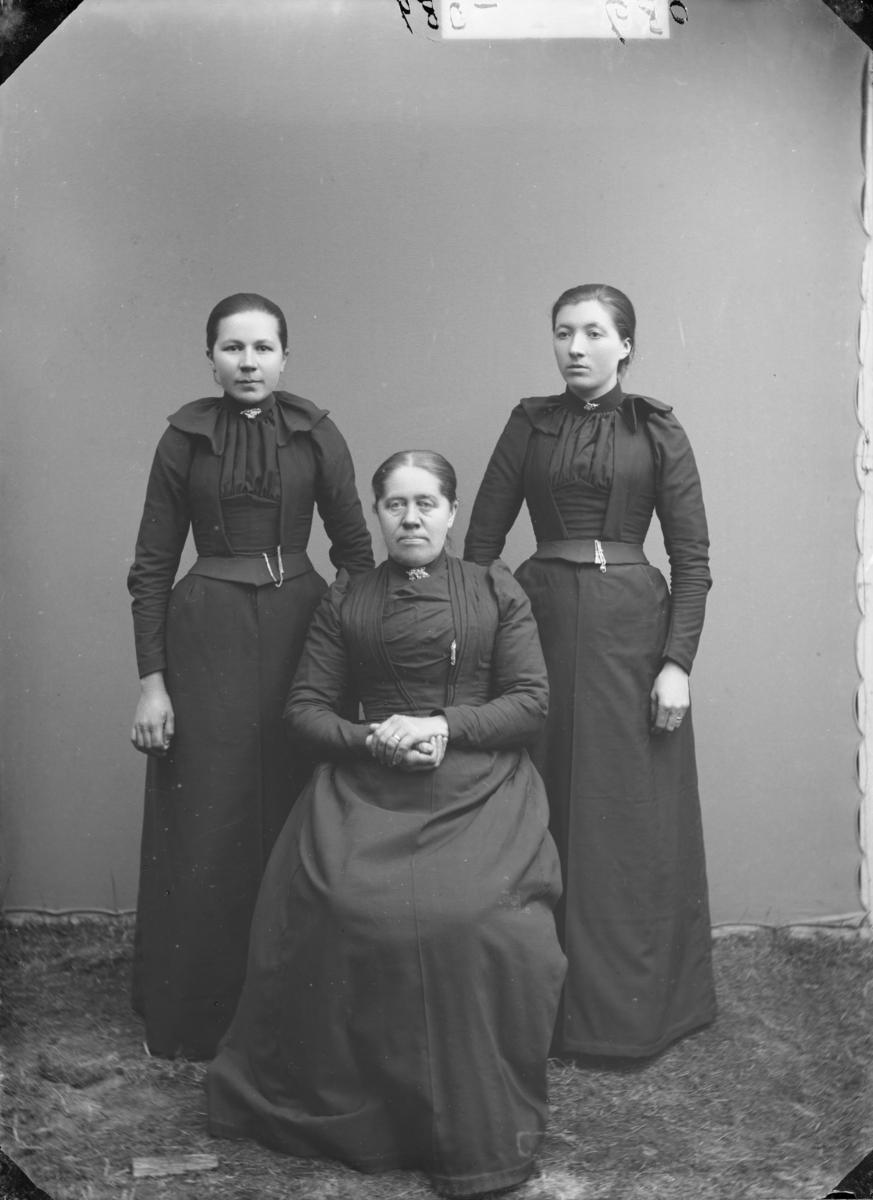 Gruppe med tre kvinner. Etter MPLs regnskapsbok er dette Mari Hammer, Anna Kvikstad og Tea Seilststad, alle fra Fron. Rekkefølgen er usikker