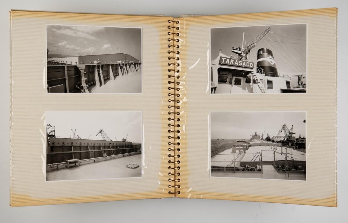 Album med fotografier fra dekk, interiør, lugarer, maskinrom ombord i  'Takasago' juni 1972.