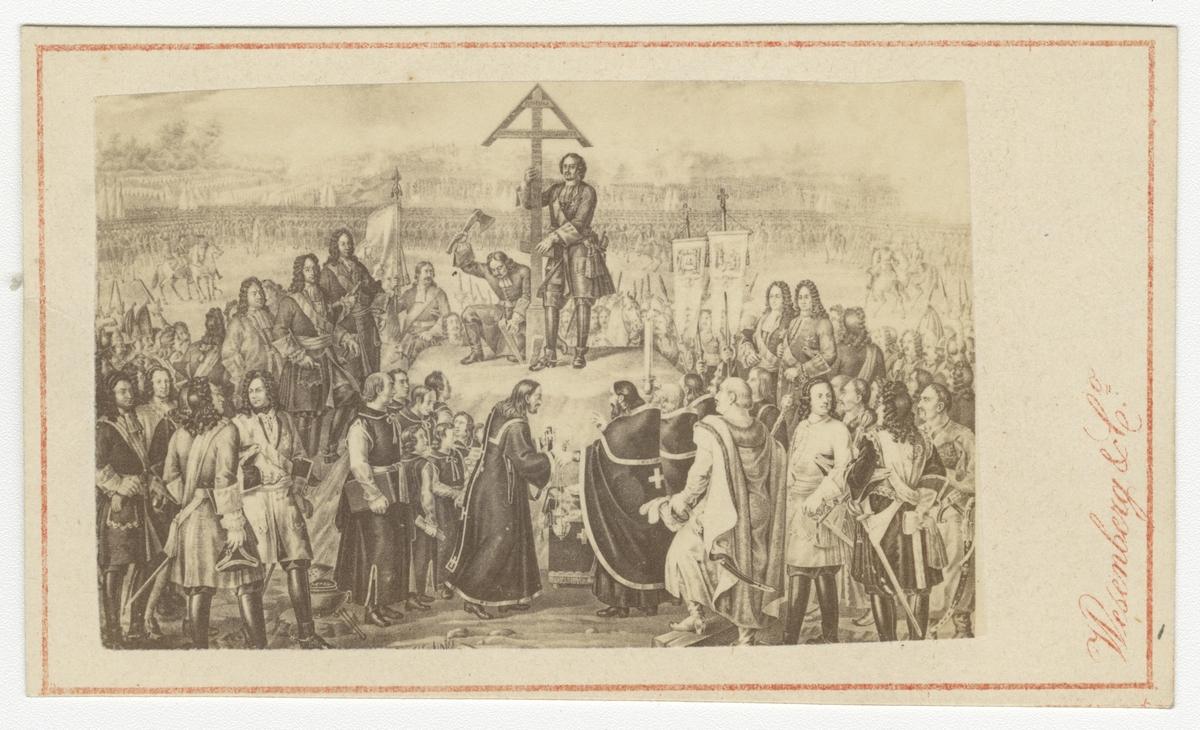 Peter den store reser kors efter slaget vid Poltava.