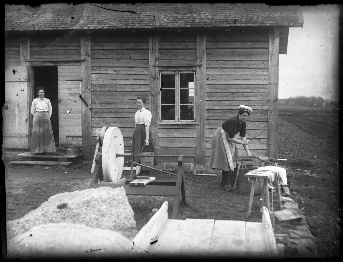 Tre arbetande kvinnor vid Ruds mejeri