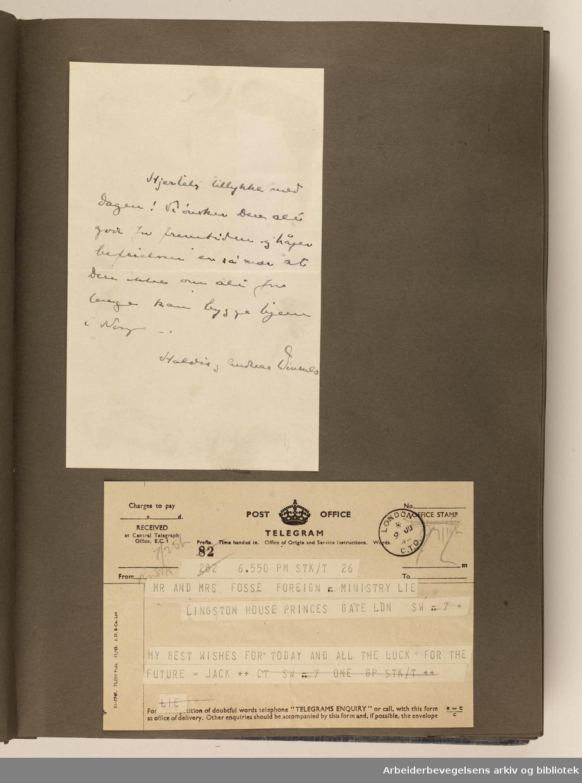 Album laget av Sissel Lie, gift Fosse og senere Bratz (1922-1983). Foto og utklipp fra tiden hun tjenestegjorde i Den norske hærs kvinnekorps i Storbritannia under andre verdenskrig. Hun oppnådde graden fenrik i kontrolltjenesten. Albumet har tittelen Sissels Scrapbook fra 1944-45. Side 30: Gratulasjoner og lykkeønskninger sendt til brudeparet Sissel Lie og Gunnar Fosse.