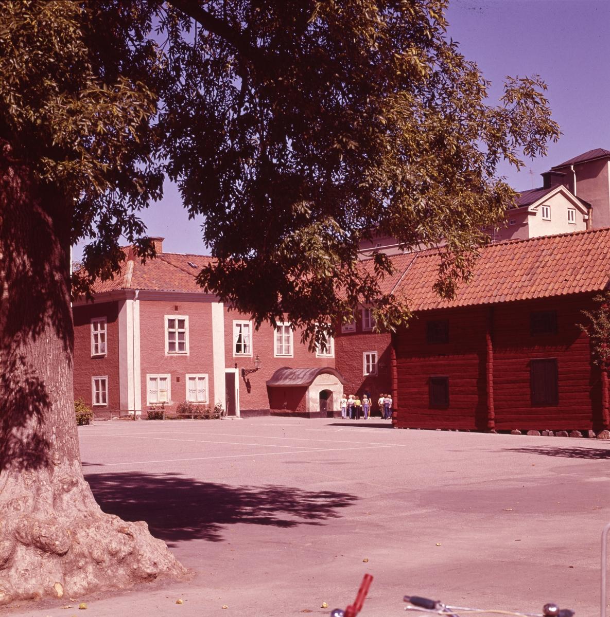 Baksidan av Arboga museum, på Nygatan Den röda timmerbyggnaden, till höger, är hitflyttad från Fahlströmska gården på Ahllöfsgatan.