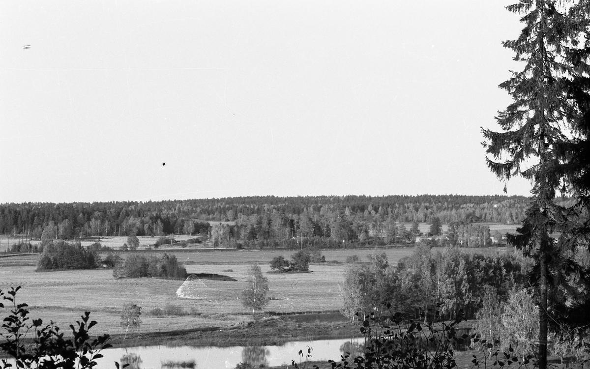 Utsikt över Arbogaån, åkrar och skog.