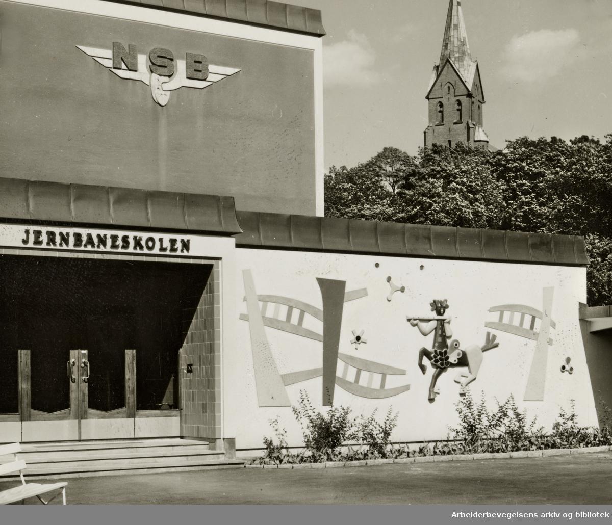 Jernbaneskolen, den nye. Juni 1961