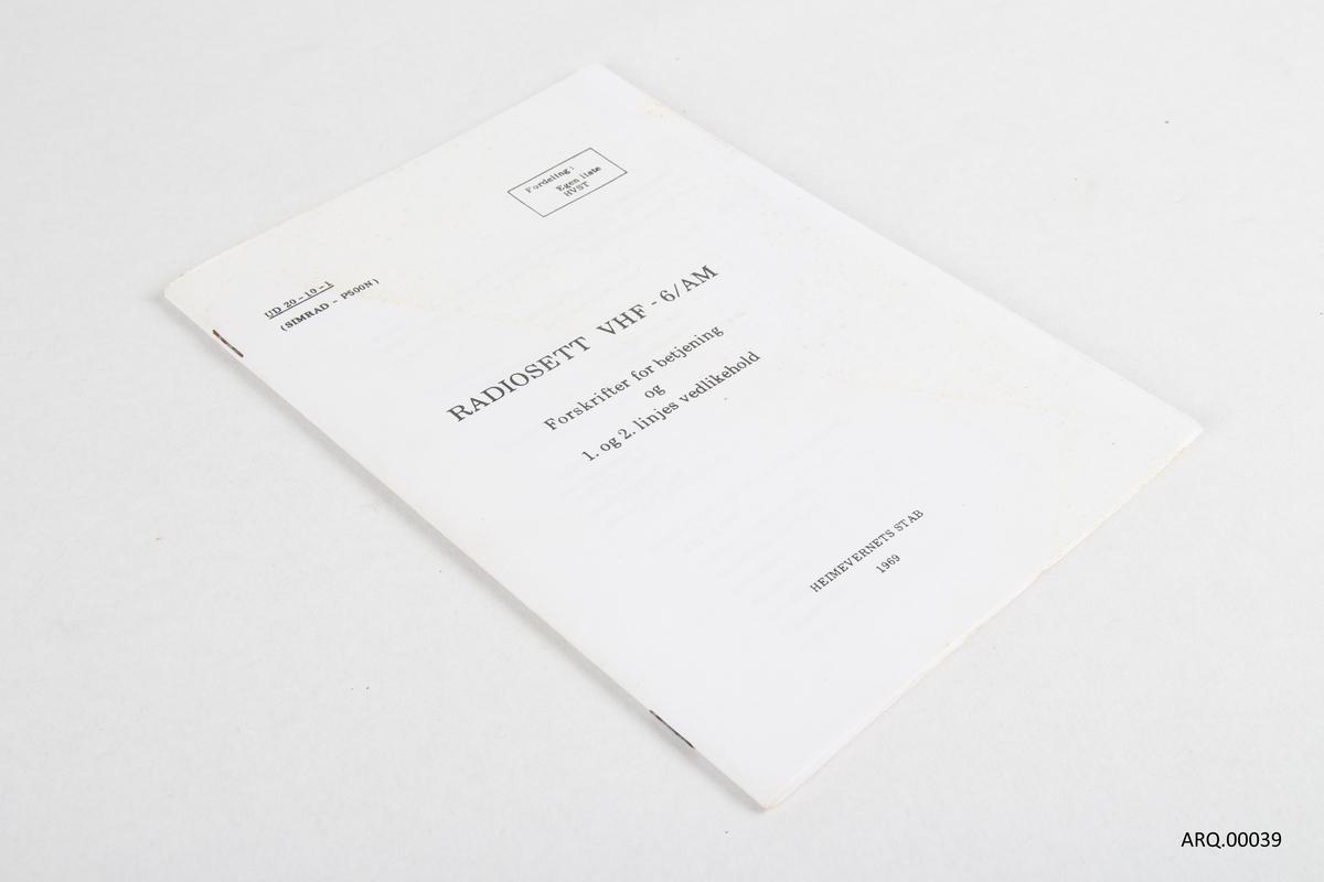 Forskrift for betjening og vedlikehold av VHF radio for bruk i Heimevernet.