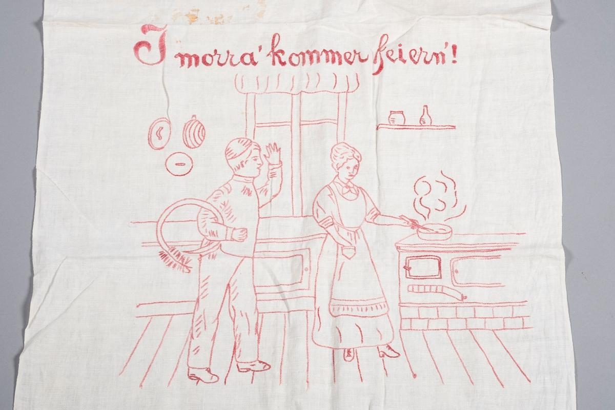 En kvinne og en mann i et kjøkken. Kvinnen står ved ovnen og lager mat. Mannen ser ut til å være en feier da han holder feieutstyr i armen. Han hilser på kvinnen med vinkebevegelse.