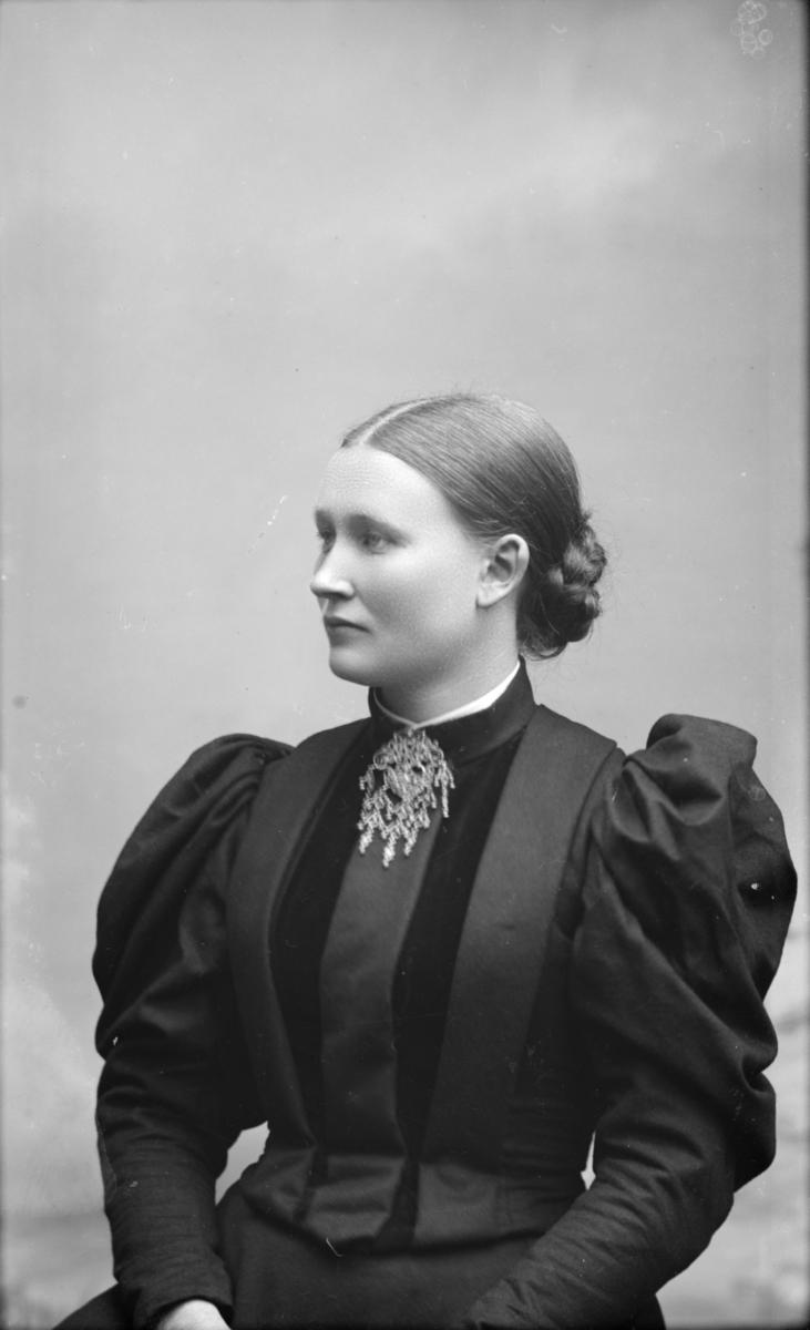 Portrett av yngre kvinne i flott kjole med puffermer og sølje