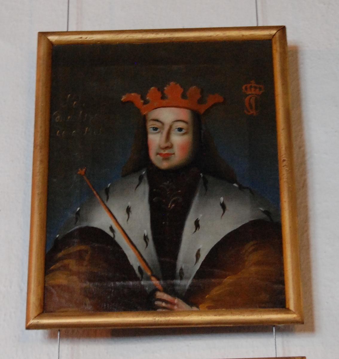 Portrett av Christian I. Olje på lerret. Halvfigur en face, hodet i kvart profil mot venstre. Brun kappe med hvit pelskrave, krone på hodet. Forgylt ramme.