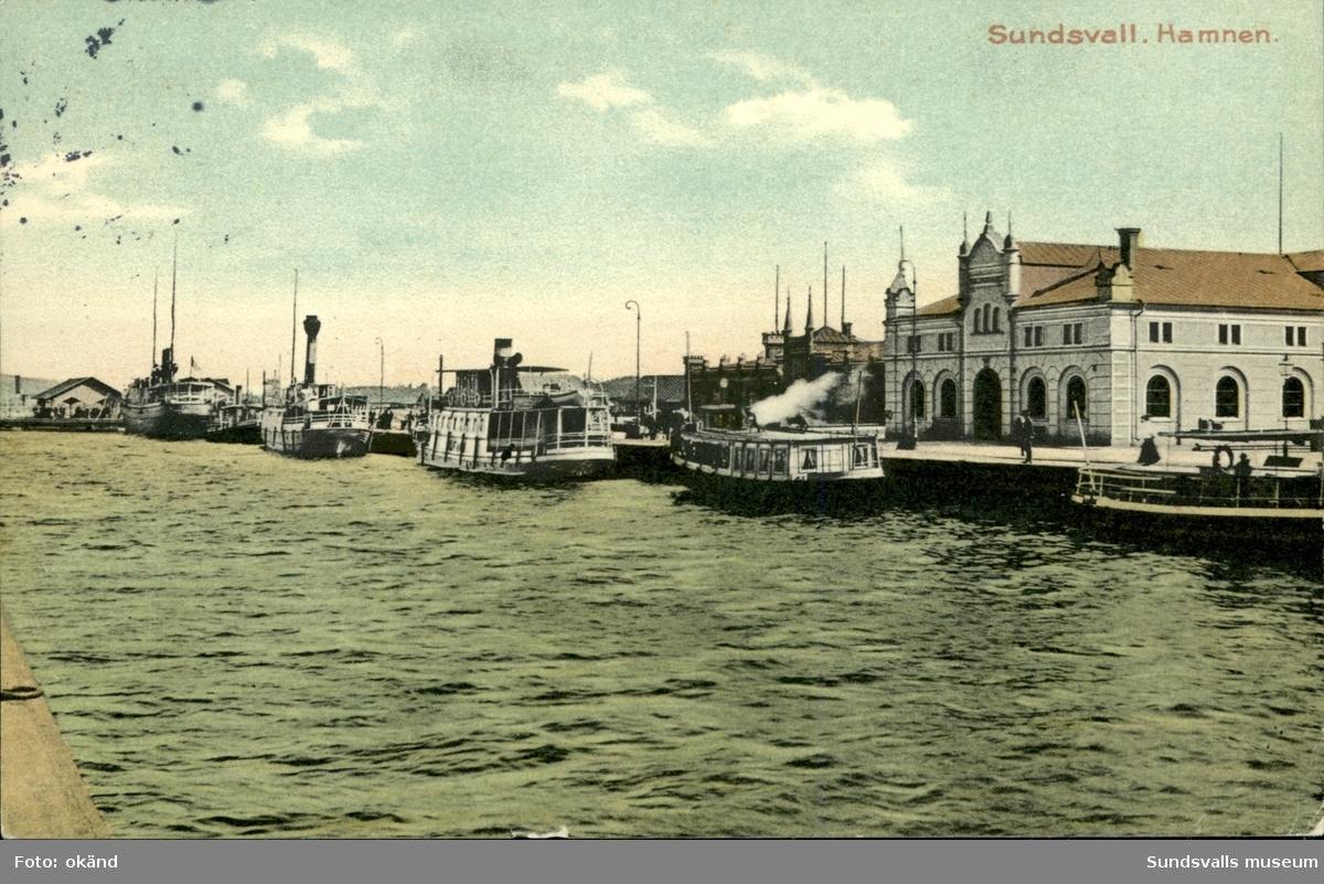 Vykort över hamnen i Sundsvall.