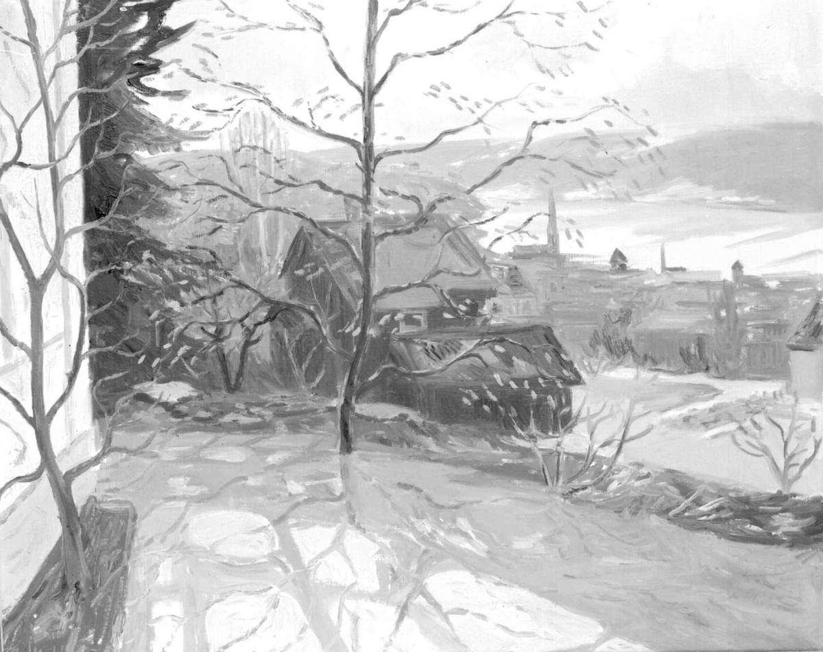 Repro: Foto av tegning. Hus og utsikt over Lillehammer.