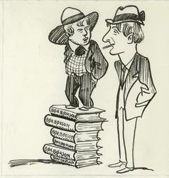 Karikatur av (fra ventre) Ove Arthur Ansteinson og Johan Fal