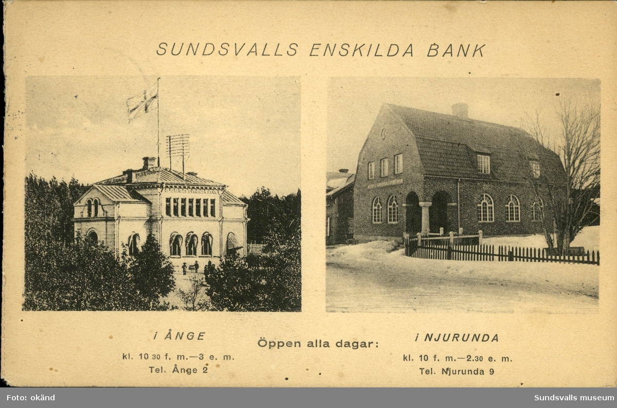 Vykort med motiv över Sundsvalls Enskildabanks två kontor.