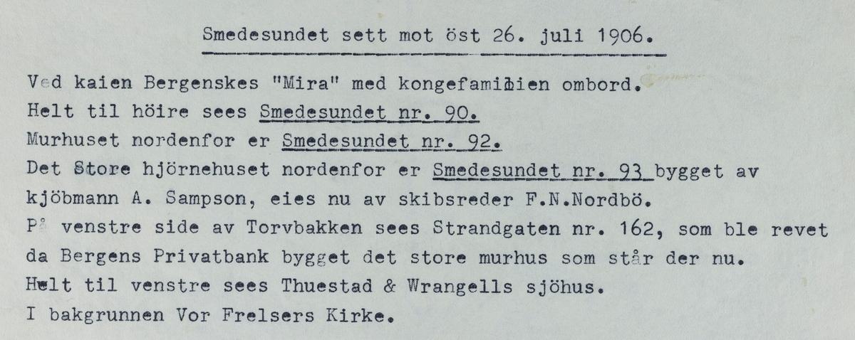 Smedasundet sett mot øst, 26. juli 1906.