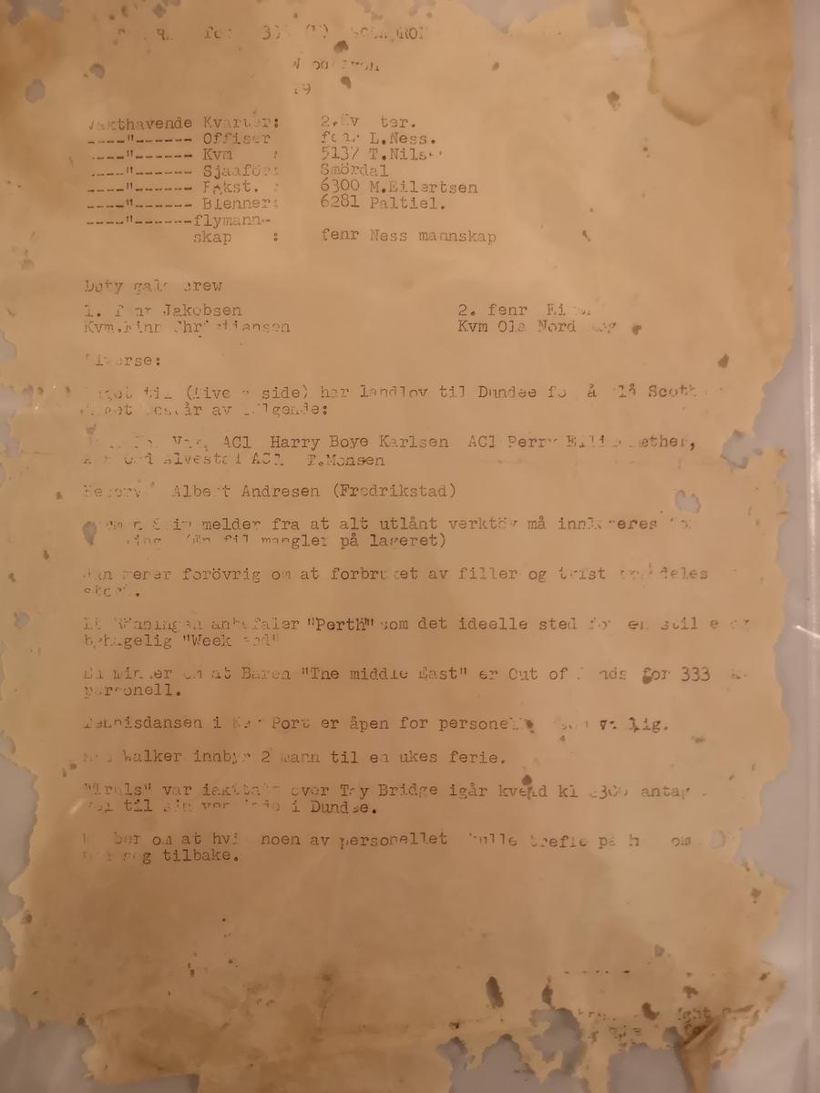 "Dagsordre for 333 (N) squadron ""A"" flight - Woodhaven. Dagsordren inneholder navn på vaktpersonell samt punktet ""Diverse"" med ymse småstofff som berører skvadronens personell."