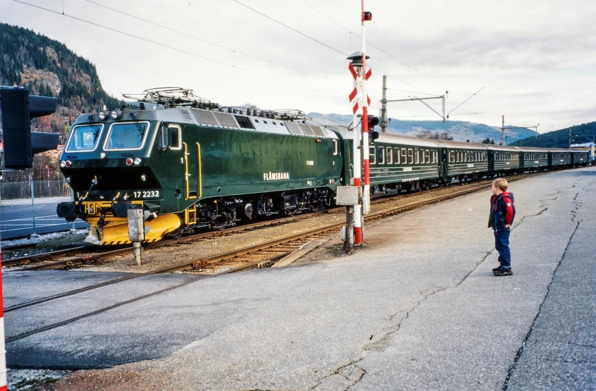 Elektrisk lokomotiv El 17 2232 med persontog på Ål stasjon