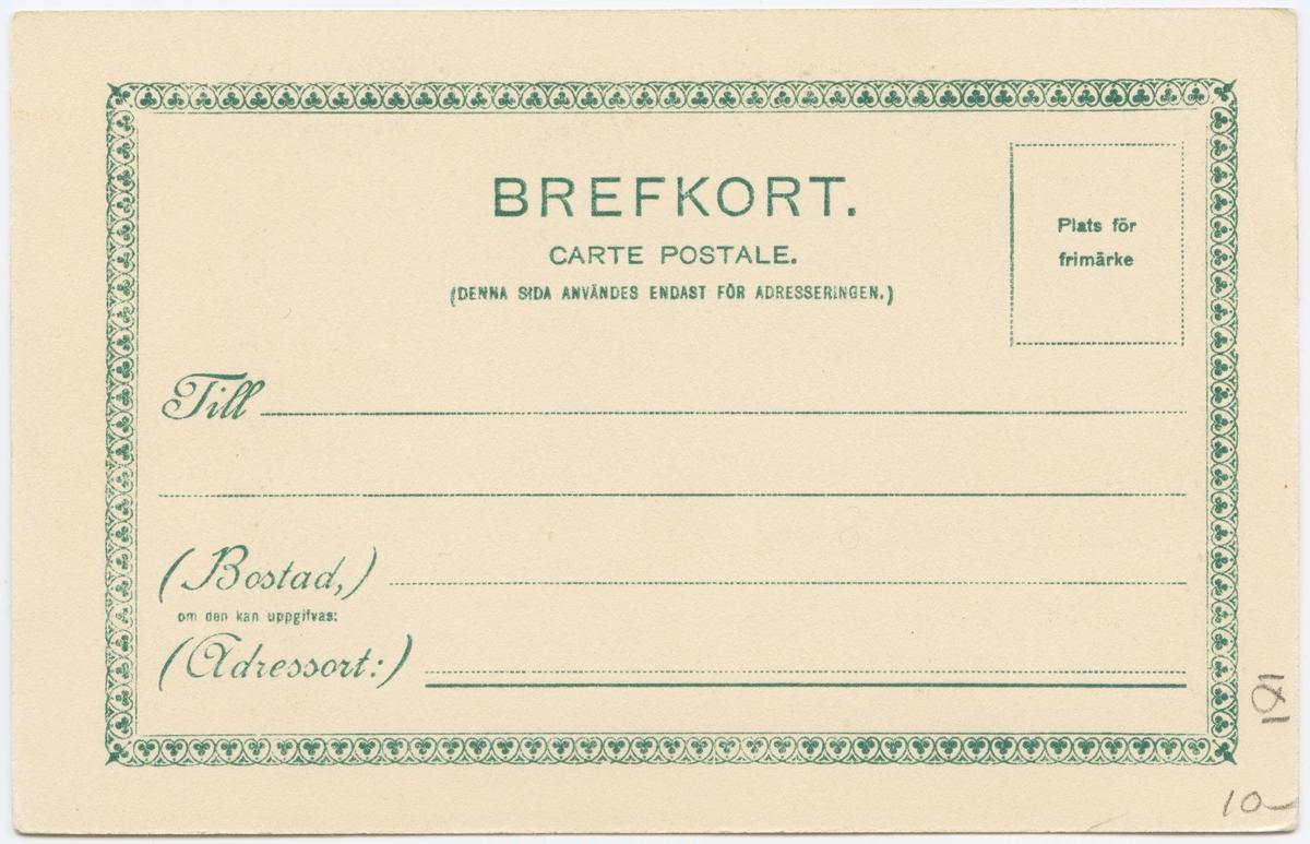 """Vykort med motiv från Skansen. """"Skansen. Interiör af Oktorpsgården"""". Kolorerat vykort."""