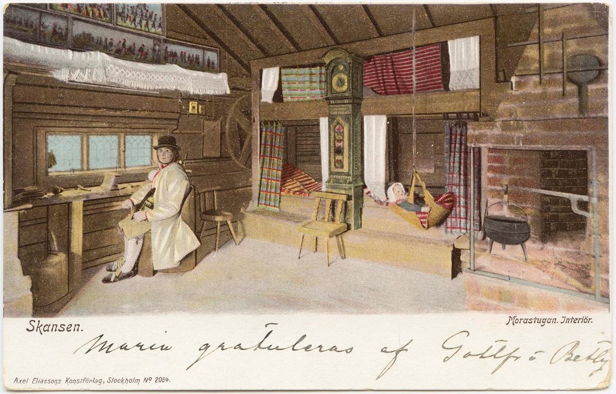 Vykort med motiv från Skansen. Morastugan, interiör.
