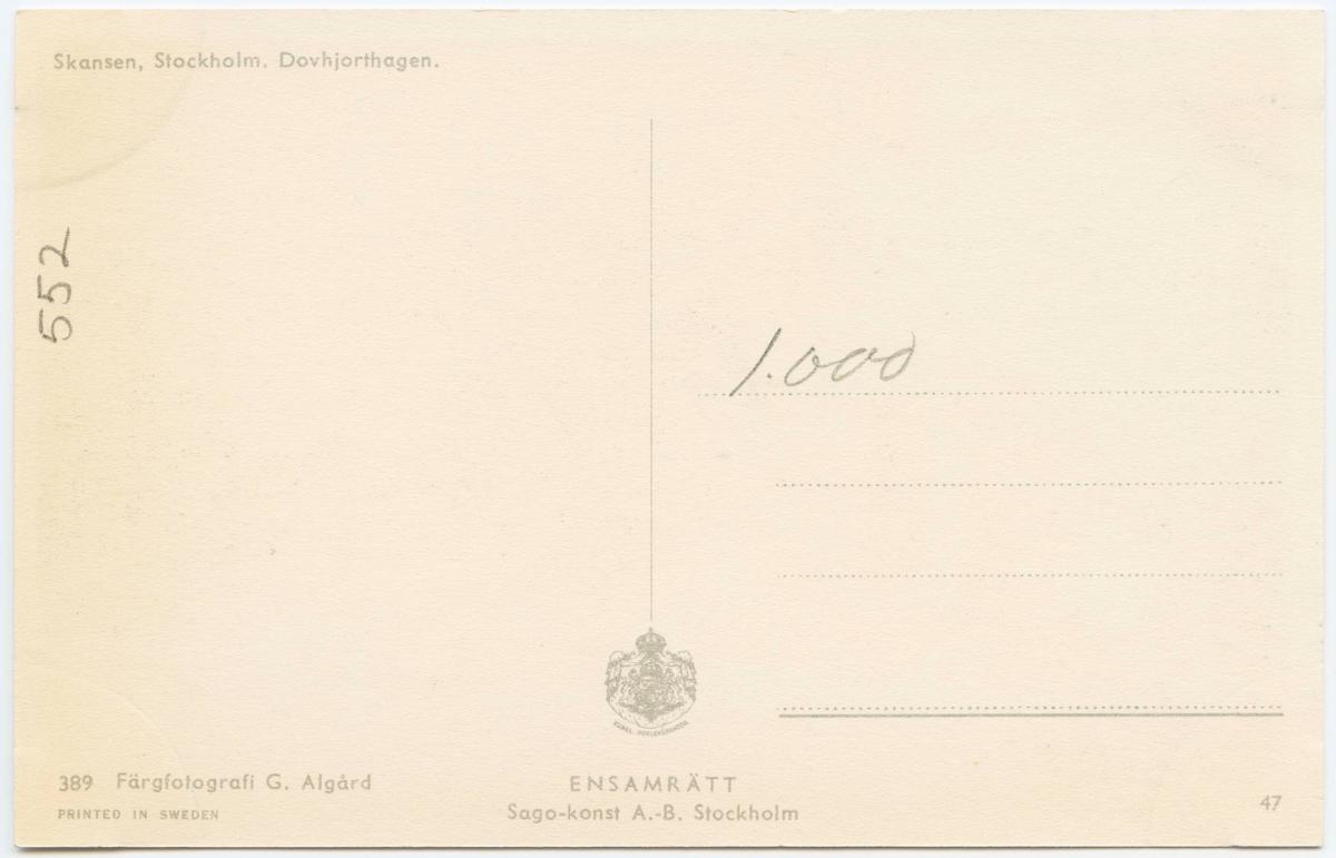 Vykort med motiv från Skansen. Dovhjorthagen.