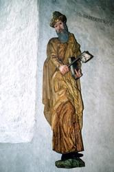 Träskulptur föreställande aposteln Bartolomeus i Brahekyrkan