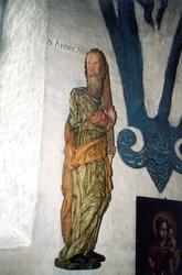 Träskulpturer föreställande apostlarna Andreas och Simon i B