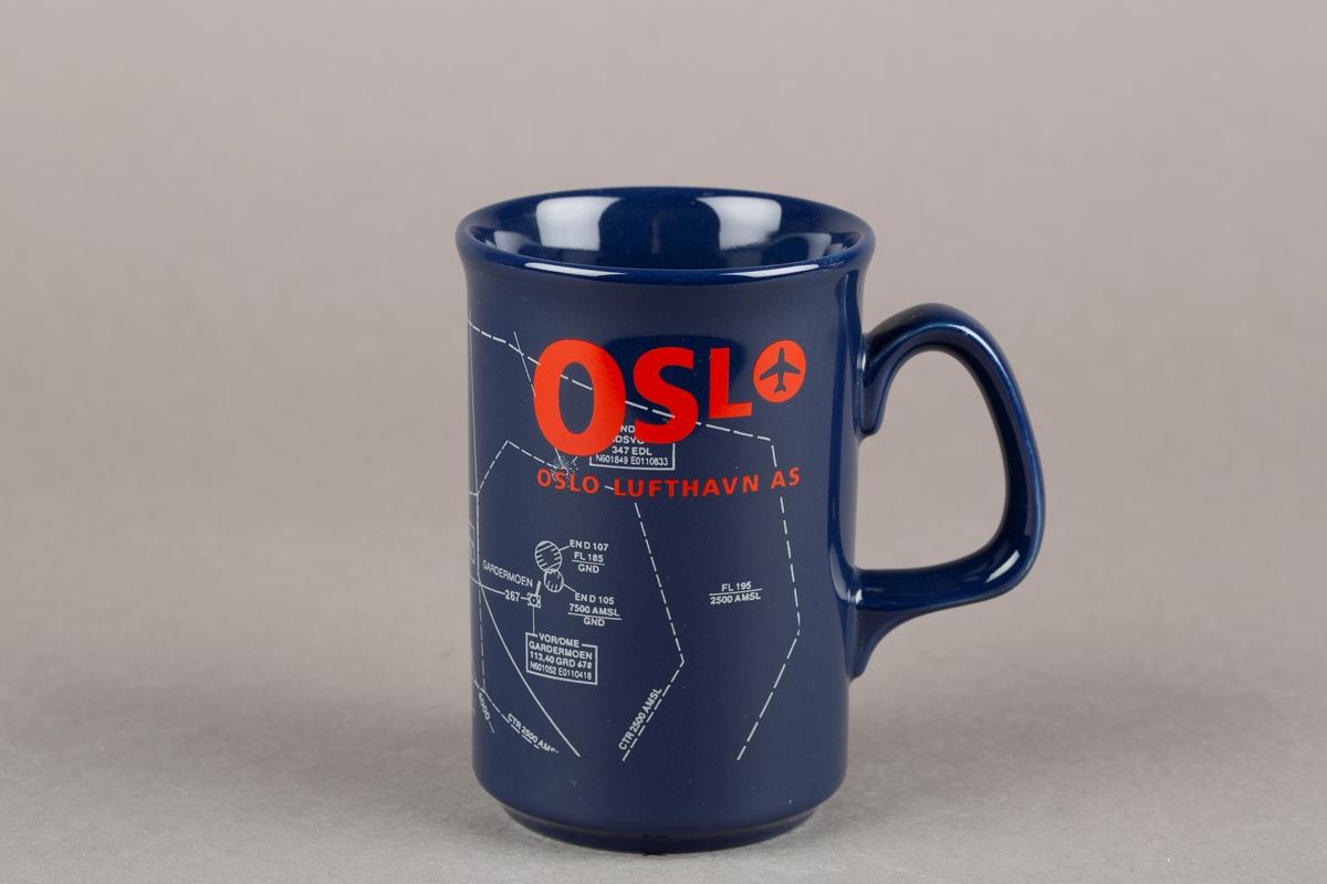 Krus med hank. OSL-logo. Utsnitt av sektorkart over luftrommet over Gardermoen.