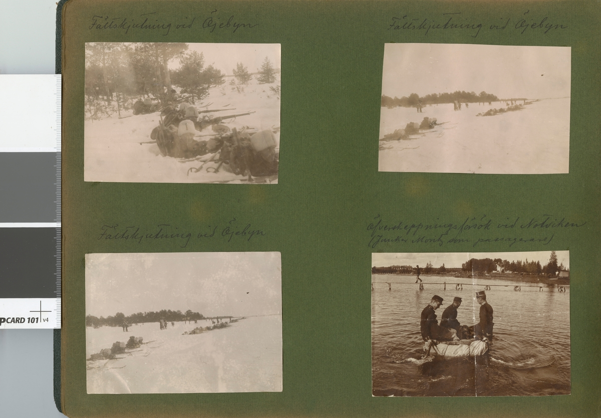 "Text i fotoalbum: ""Manöver i trakten af Piteå vintern 1906. Fältskjutning vid Öjebyn."""