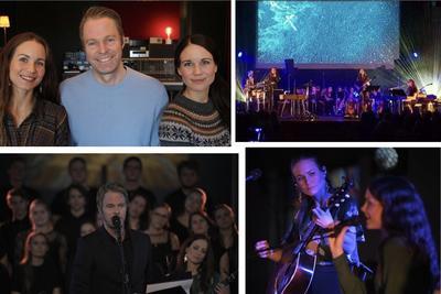 Bildecollage med fire bilder som viser glimt fra konserten.